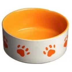 Miska keramická motiv tlapka oranžová