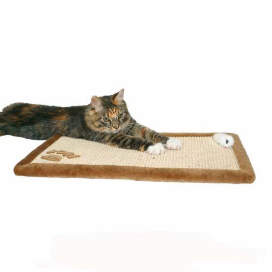 Škrábací rohožka pro kočky s hračkou