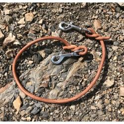 Rozdvojka / přídavný díl pro druhého psa z kulaté kůže ø 7mm, 2 x karabina